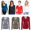 Womens-Ladies-Girls-Plain-Long-Sleeve-V-NECK-T-Shirt-Top-Plus-Size-Tops-Shirt thumbnail 1