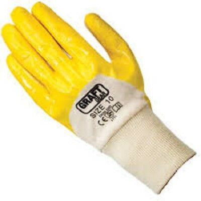 12 pairs Graft Gear Lightweight Nitrile Glove Palm Coated Cotton Liner Yellow
