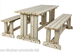 WOODEN PICNIC TABLE BENCHES FT FT FT FT PRESSURE TREATED WALK - Pressure treated wood picnic table