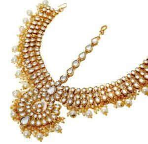 Indian-Wedding-Bridal-Pearl-Gold-Kundan-Matha-Patti-Head-Maang-Tikka-Jewelry