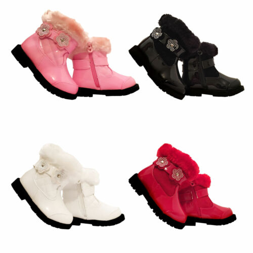 baby girls shiny winter fashion boots inside zip warm lined sizes 5-8
