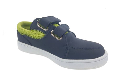Boys Shoes Grosby Lucas JNR Navy//Green Double Hook /& Loop Running Shoe Size 8-12