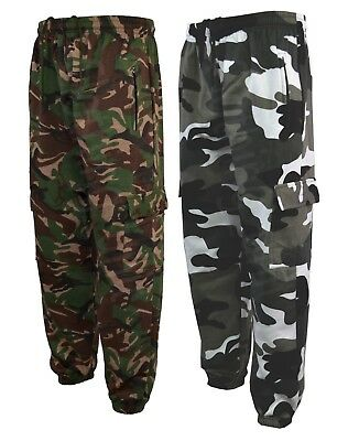 Mens Army Combat Camo Camouflage Jogging fleece Bottoms Trousers Pants  S XXL