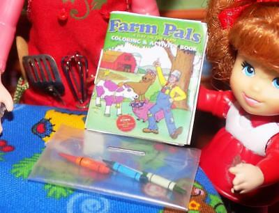 Dollhouse Miniatures Farm Coloring Book with Crayons