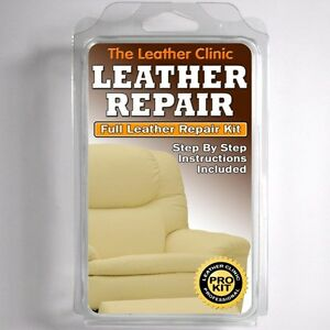 Details about CREAM Leather Sofa & Chair Repair Kit for tears holes scuffs  and colour dye