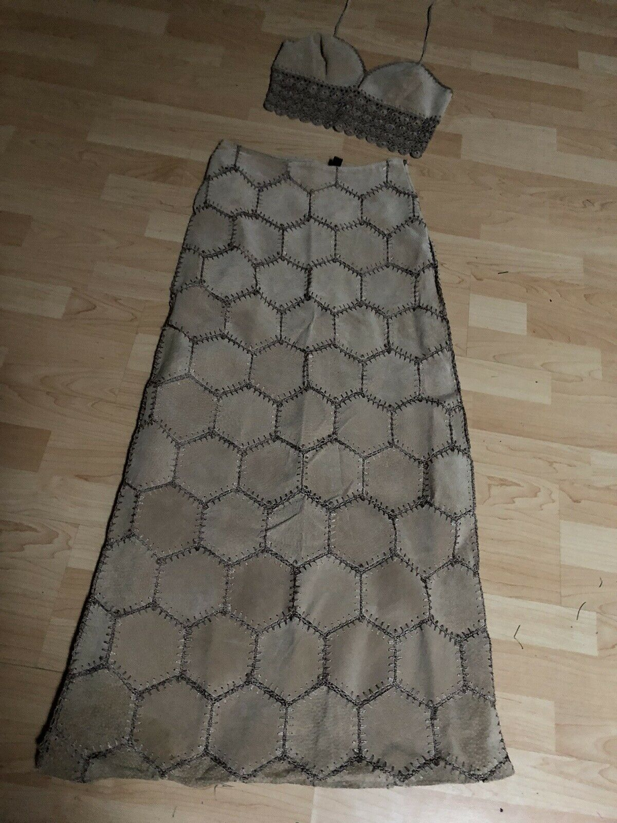 Boutique Europa - Maxi Leather Suede Patchwork Long Skirt Size 4 Halter Set S