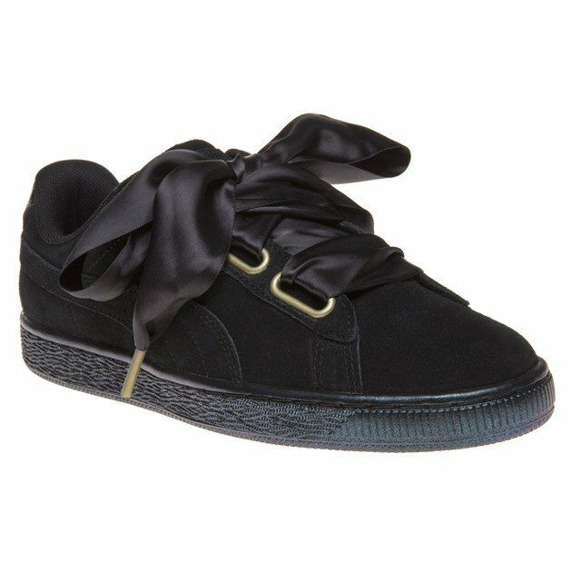 85f958c07015 PUMA Suede Heart Satin Wns Black Gold Women Classic Shoes SNEAKERS ...