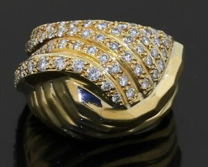 Heavy-18K-gold-1-50CTW-VS-diamond-cluster-abstract-dome-cocktail-ring-size-7-25