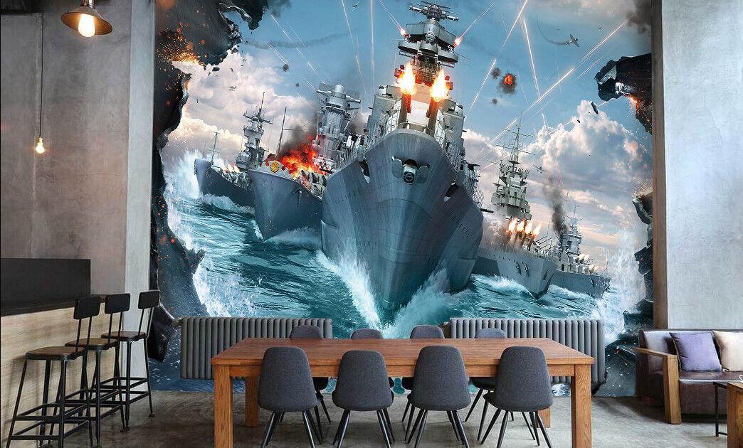 3D Warships 432 Wallpaper Murals Wall Print Wallpaper Mural AJ WALLPAPER UK