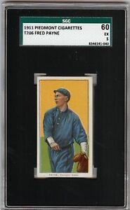 Rare 1909-11 T206 Fred Payne Piedmont 350-460 Chicago SGC 60 / 5 EX