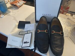 Authentic-Gucci-Black-Leather-Jordaan-Loafers-322500-Size-11