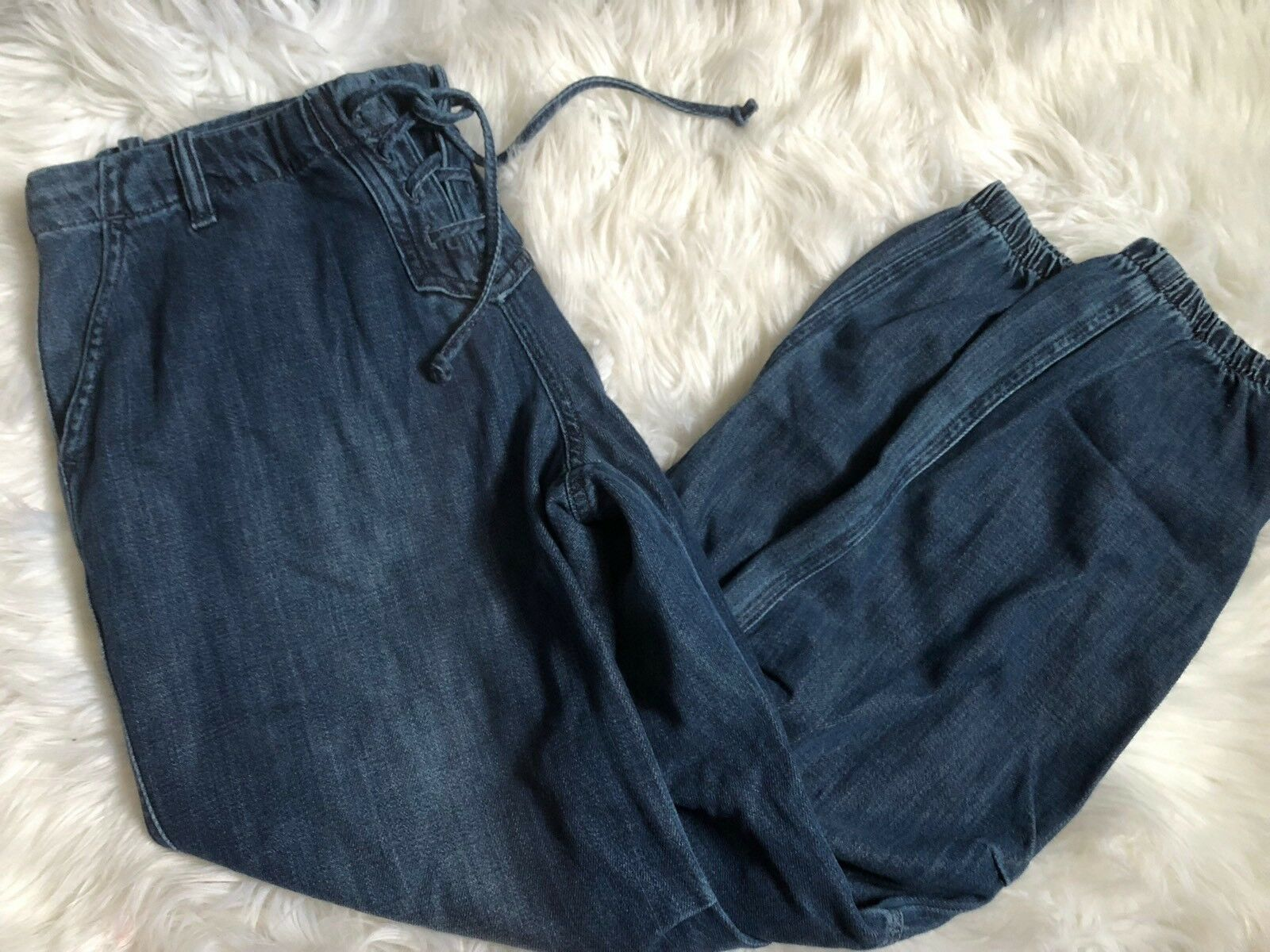 NEW CLOTH STONE Sz M LACE UP JOGGER PANT In blueE DENIM MEDIUM