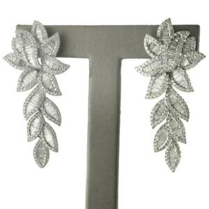 Gorgeous-6-97-TCW-Round-amp-Baguette-Cut-Diamonds-Dangle-Earrings-14k-White-Gold