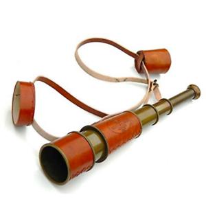 """Telescopio marina de latón sólido de cuero rojo - 16"""" Piratas Telescopio"""