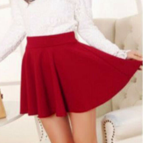 Summer Mini Skirt Short Dress Women Stretch Skater Dance Flared Party Clubwear