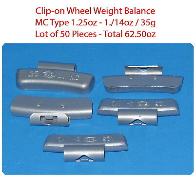 50 Pcs Clip-on Wheel Weight Balance Mc Type 1.25oz 1.1/4oz 35g Total 62.50oz