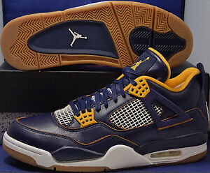 a50e70618afe81 Nike Air Jordan 4 IV Retro Dunk From Above Navy Gold Youth SZ 4.5Y ...