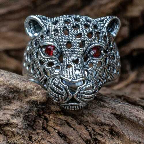 Leopardo Cabeza Anillo .925 Silver Cubic Zirconia ojos Big Cat Cheetah Cougar Biker