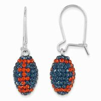 Sterling Silver Auburn Tigers Orange & Blue Crystal Football Dangle Earrings