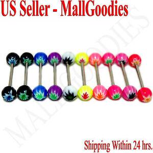 W062-Acrylic-Tongue-Rings-Bar-Barbell-Cannabis-Marijuana-Weed-Pot-Leaf-10-colors