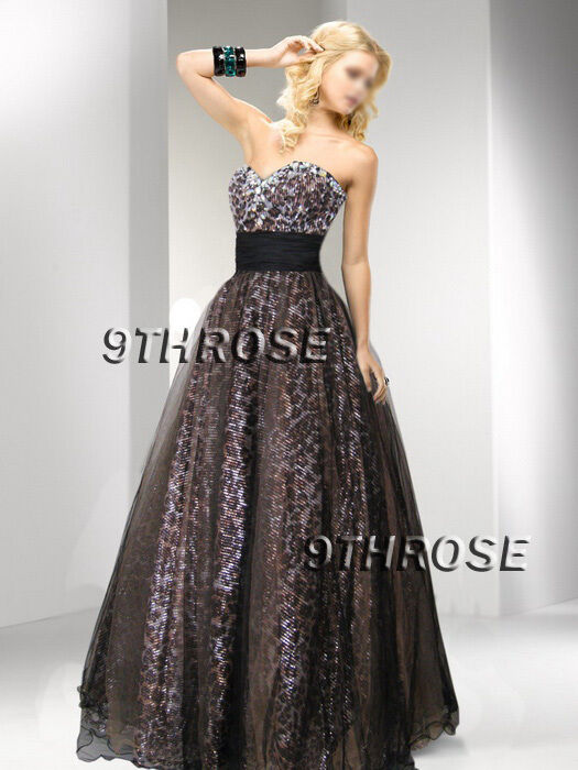 INDULGE YOURSELF  braun LEOPARD BEADED FORMAL EVENING PROM BALL GOWN; AU18 US16