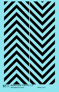 K4 O Decals Black 1//4 Inch 45 Degree Diagonal Barricade Stripes Set