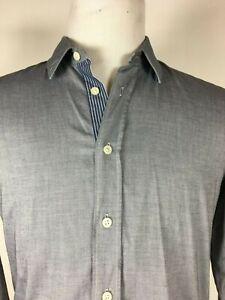 HUGO-BOSS-ORANGE-Solid-blue-contrast-cuff-long-sleeve-casual-shirt-M