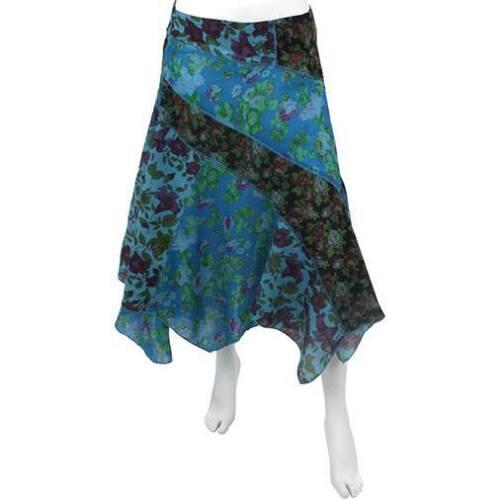 Belle bleu jupe Pixie Fair Trade FREE Taille élastique au dos Boho