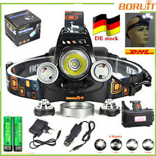 CE BORUiT 40W BORUiT® Stirnlampen 13000LM 3*XML L2+T6 LED HeadLamp 6000mAh 18650