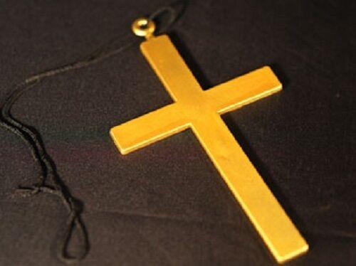 RELIGIOSA-CROCE D/'ORO IN PLASTICA TAGLIA UNICA Costume Accessorio-Suora-Vicario-MONACO