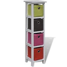 White Cabinet Unit Storage 4 Baskets Drawers Bedroom Bathroom Drawer Cabinets