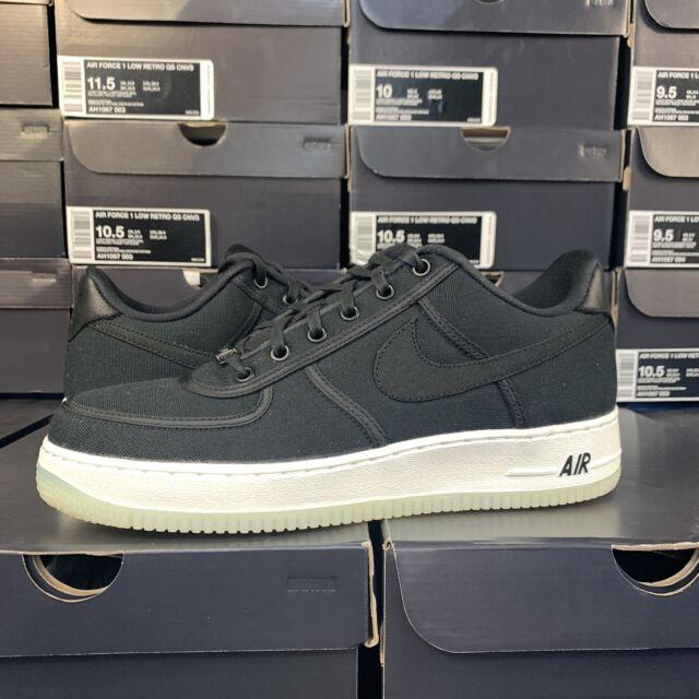 New Men's Nike Air Force 1 Low Retro QS Canvas AH1067 004 Size 9.5 Black White