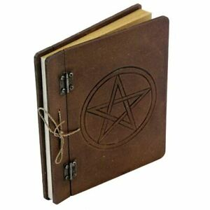 Brown-Pentacle-Medium-Blank-Spell-Book-Notebook-Wicca-Journal-Occult-Witch