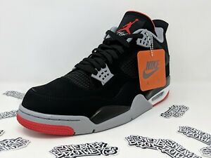 new style f7d9f d155c Details about Nike Air Jordan Retro IV 4 Bred 2019 Black Fire Red Cement  Grey 308497-060