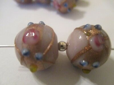 Brave 18 Lavender Wedding Cake 13x12 Mm Lampwork Glass Beads Gold Detail Ni7 Beads & Jewelry Making Crafts