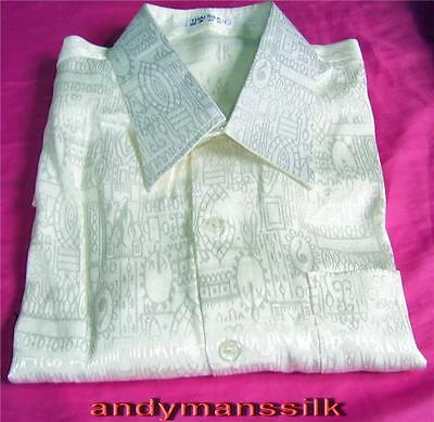 Mens Jacquard Weave Cream Thai Silk Shirt  Short - Long Sleeve S-M-L-XL-XXL-XXXL