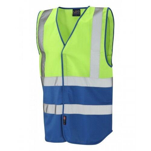 Leo Workwear Pilton Lime//Royal Blue Hi Vis Reflective Waistcoat