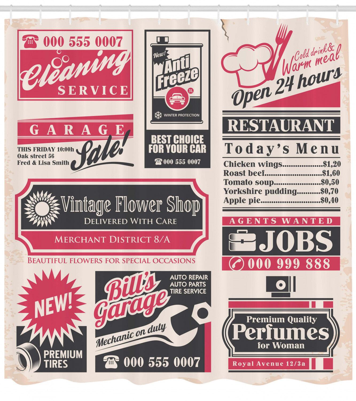 Retro Newspaper Magazine Decor Image Vintage Print Shower Curtain Set Extra Long A172d3