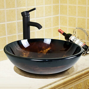 bathroom tempered glass round oil rubbed bronze vessel sink faucet drain combo 814644020283 ebay. Black Bedroom Furniture Sets. Home Design Ideas