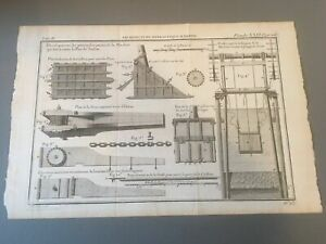 1770 Original Antique Etching From Architecture Hydraulique - Engineering-