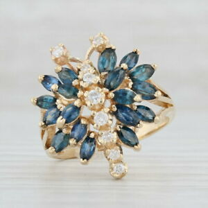 Diamond-Blue-Sapphire-Butterfly-Cocktail-Ring-14k-Yellow-Gold-Size-9-Cluster