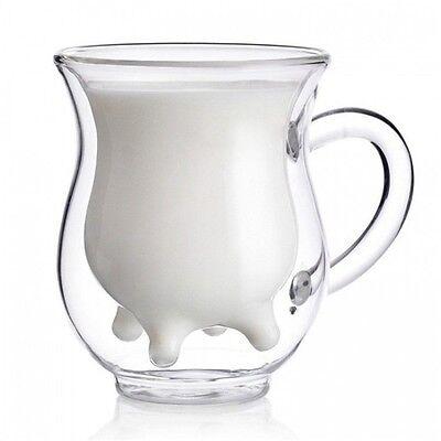 Fashion Double-Layer Glass Quadrangle Cup Beer Coffee Drinks Milk Mug P5