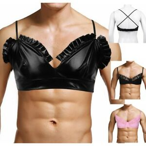 8631fc71f7 Image is loading Leather-Look-Mens-Training-Bra-Sissy-Crossdress-Male-