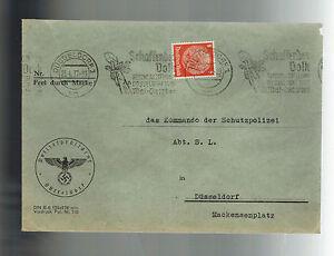 1937 Dusseldorf Germany Polizei Police Perfin Cover to Schutzpolizei