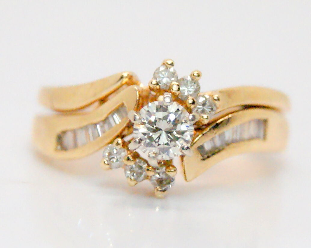 14K Yellow gold 1 3 Ct Diamond Wedding Engagement Ring Set Size 5