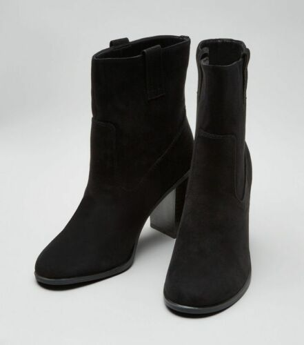 New Suedette Uk Look Heeled Boots Mid 6 Calf Black Brand Season FwFPxq1rR