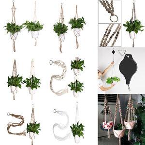 Handcraft-Macrame-Plant-Hanger-Basket-Flowerpot-Holder-Gardenpot-Lifting-Rope-A