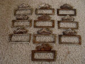 Vintage Cast Iron Apothecary Label Window Victorian Drawer Handle Bin Pull