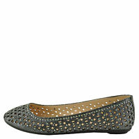 Bamboo Quintus 80a Pewter Women's Perforated Glitter Flat