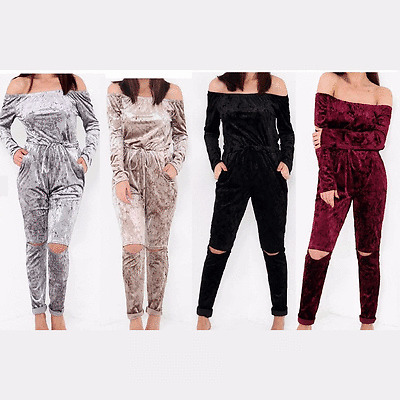 Womens Off Shoulder Slit Knee Loungewear Jumpsuit Ladies Jogging Set UK 8-14